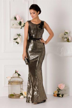 Rochie de seara lunga tip sirena accesorizata cu paiete aurii si negre LaDonna
