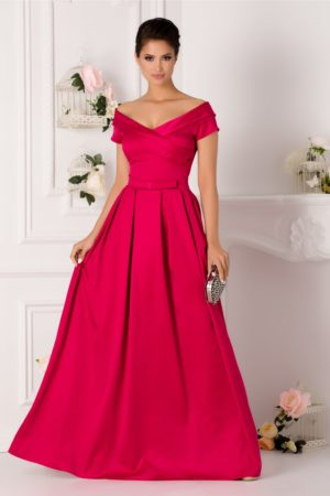 Rochie de nunta fucsia lunga pana in pamant din tafta satinata cu decolteu in V si design petrecut LaDonna