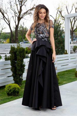 Rochie neagra de seara cu bustul de dantela si fusta lunga pana in pamant din tafta pretioasa LaDonna