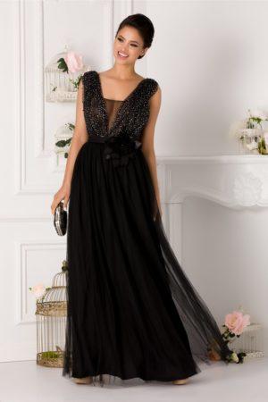 Rochie de seara lunga neagra eleganta cu strass-uri si margelute discrete la decolteul in v LaDonna