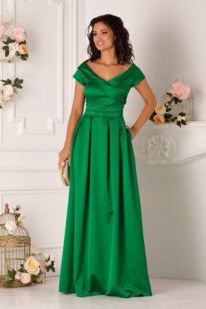 Rochie de nunta verde lunga pana in pamant din tafta satinata cu decolteu in V si design petrecut LaDonna