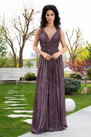 Rochie de seara mov eleganta realizata din material de tull cu lurex LaDonna