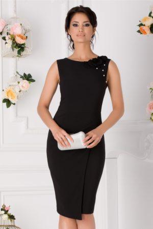 Rochie conica de ocazie neagra midi eleganta accesorizata cu flori 3D si perlute discrete LaDonna