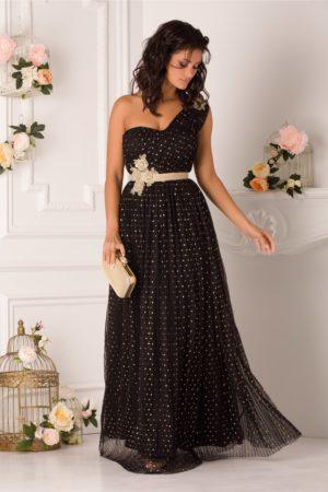 Rochie de seara eleganta neagra lunga cu buline aurii si broderie in talie LaDonna