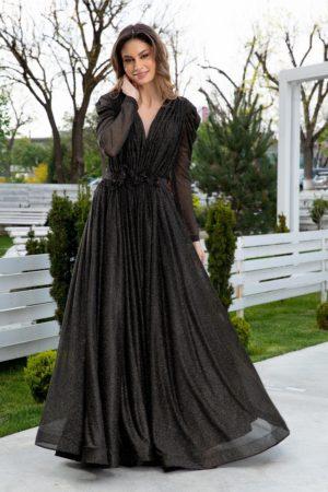 Rochie de nunta neagra lunga eleganta accesorizata cu flori 3D in talie si sclipici auriu LaDonna