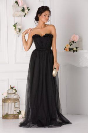 Rochie de seara lunga din tull neagra stil printesa prevazuta cu un decolteu in forma de inima LaDonna