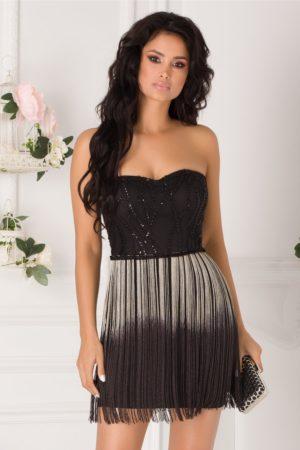 Rochie de ocazie neagra scurta cu franjuri in degrade si broderie din paiete elegante LaDonna