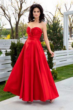 Rochie de seara lunga din tafta rosie cu textura de sidef si croiala in pliuri elegante LaDonna