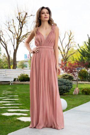 Rochie de seara roz coniac eleganta realizata din material de tull cu lurex LaDonna