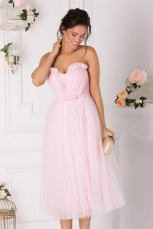 Rochie de ocazie midi din tull roz pal stil printesa prevazuta cu un decolteu in forma de inima LaDonna