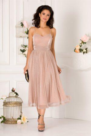 Rochie de seara de lux roz prafuit eleganta realizata din material de tull cu lurex LaDonna
