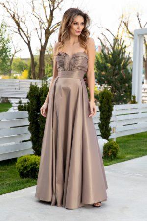 Rochie de seara lunga din tafta sampanie cu textura de sidef si croiala in pliuri elegante LaDonna