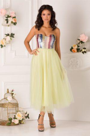Rochie baby doll verde lime de ocazie accesorizata cu paiete si fusta midi din tull LaDonna