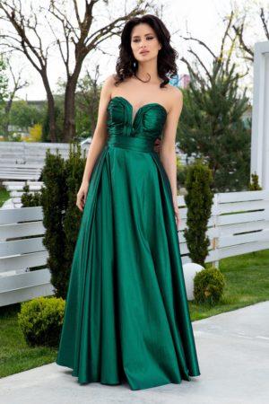 Rochie de seara lunga din tafta verde cu textura de sidef si croiala in pliuri elegante LaDonna