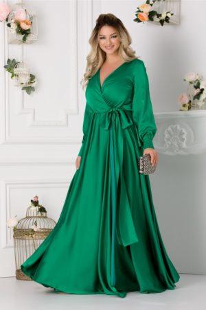Rochie de ocazie verde lunga cu croiala petrecuta si maneci bufante din material satinat LaDonna
