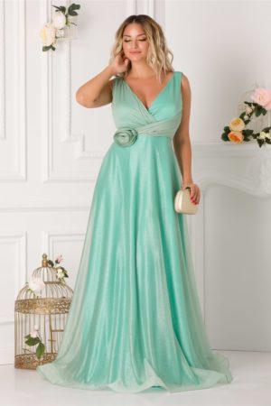 Rochie de seara lunga verde mint cu aplicatie florala 3D in talie si decolteu in V LaDonna
