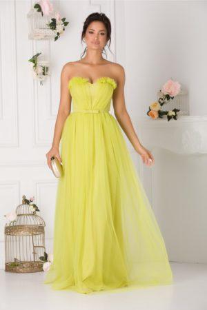 Rochie de seara lunga din tull verde neon stil printesa prevazuta cu un decolteu in forma de inima LaDonna