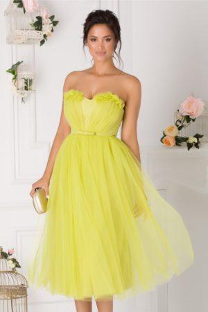 Rochie de ocazie midi din tull verde neon stil printesa prevazuta cu un decolteu in forma de inima LaDonna
