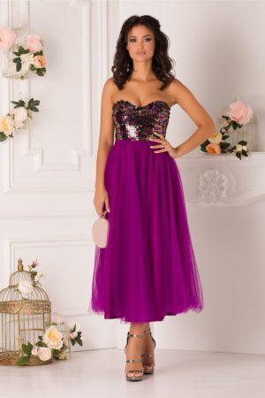 Rochie baby doll violet de ocazie accesorizata cu paiete si fusta midi din tull LaDonna
