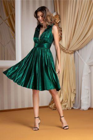 Rochie midi de ocazie eleganta verde metalizat cu decolteu in V accesorizat cu flori 3D Ladonna Brigitta