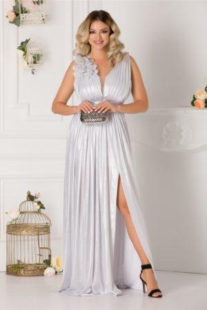 Rochie de seara lunga argintie cu crapatura adanca pe picior si decolteu in V Ladonna Raysa