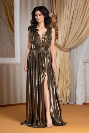 Rochie de seara lunga auriu metalizat cu crapatura adanca pe picior si decolteu in V Ladonna Raysa