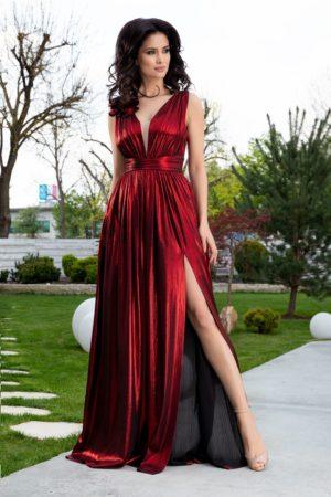Rochie de seara lunga rosu metalizat cu crapatura adanca pe picior si decolteu in V Ladonna Raysa