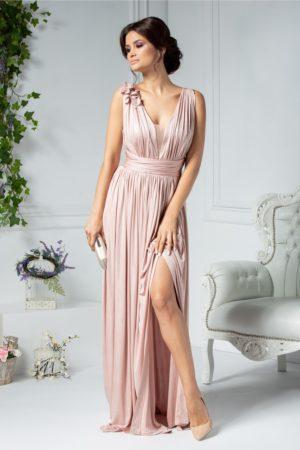 Rochie de seara lunga roz metalizat cu crapatura adanca pe picior si decolteu in V Ladonna Raysa