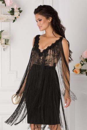 Rochie eleganta midi de ocazie neagra accesorizata cu broderie si franjuri Ladonna