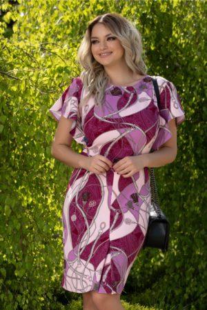 Rochie eleganta conica cu maneci evazate Lara magenta cu imprimeuri diverse