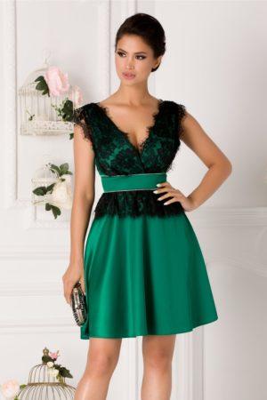 Rochie de seara verde scurta eleganta cu aplicatii din dantela neagra Laura