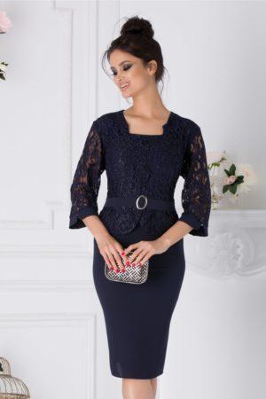 Rochie de seara bleumarin stil creion cu dantela la bust Louise pentru femei plinute