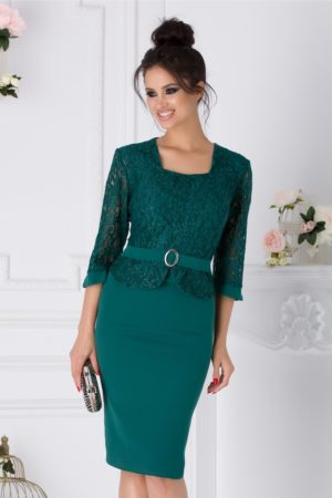 Rochie de seara verde stil creion cu dantela la bust Louise pentru femei plinute