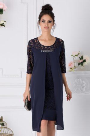 Rochie de nunta bleumarin eleganta realizata din dantela cu voal Miruna pentru femei plinute