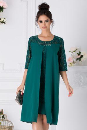 Rochie de nunta verde eleganta realizata din dantela cu voal Miruna pentru femei plinute