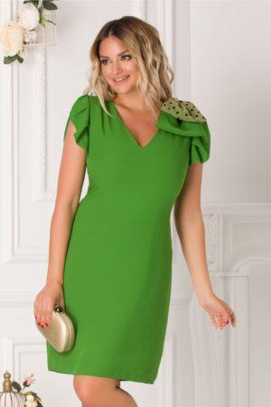 Rochie scurta cu croi delicat in forma de clopot verde intens accesorizata funda dubla Moze