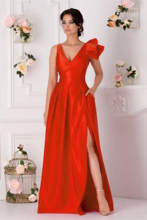 Rochie de seara corai lunga realizata din tafta cu crapatura adanca pe picior Moze
