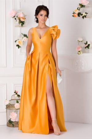 Rochie de seara galben mustar lunga realizata din tafta cu crapatura adanca pe picior Moze
