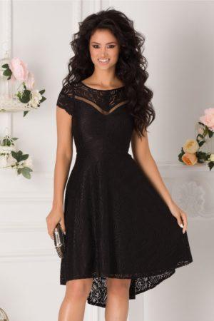 Rochie de ocazie neagra eleganta cu croiala asimetrica din dantela Moze