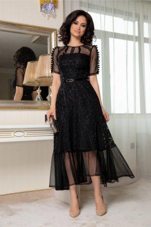 Rochie midi neagra din organza cu ciucurei la maneci realizata intr-o croiala evazata Moze