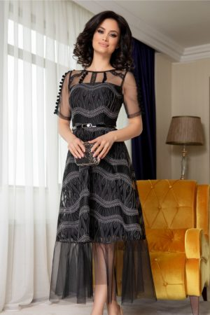 Rochie de ocazie neagra din organza realizata intr-o croiala evazata Moze