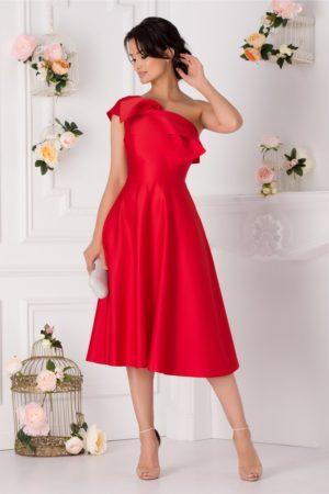 Rochie midi rosie de ocazie accesorizata cu o funda maxi in zona umerilor Moze
