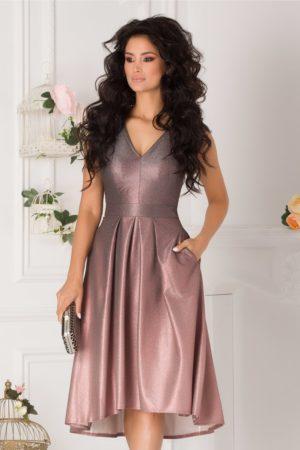 Rochie de seara roz prafuit eleganta in degrade cu glitter si fusta midi plisata Moze