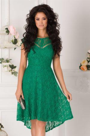 Rochie de ocazie verde eleganta cu croiala asimetrica din dantela Moze