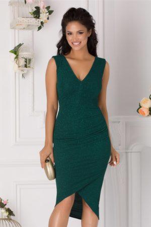 Rochie de ocazie verde smarald eleganta cu glitter si fronseu in talie Moze