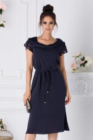 Rochie de ocazie bleumarin eleganta cu maneci din dantela Muse pentru femei plinute