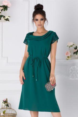 Rochie de ocazie verde eleganta cu maneci din dantela Muse pentru femei plinute