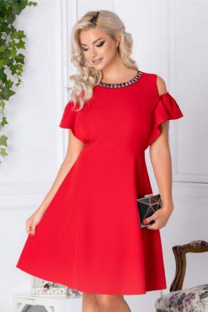 Rochie de ocazie rosie eleganta cu aplicatii de pietre colorate la guler si maneci decupate Preta