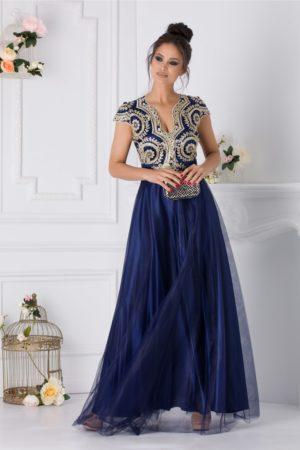 Rochie de botez bleumarin eleganta pentru seara cu broderie aurie la bust Pretiosa