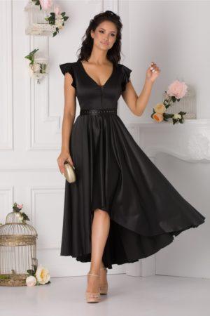 Rochie asimetrica eleganta neagra de seara realizata din material satinat cu cordon in talie Ramona